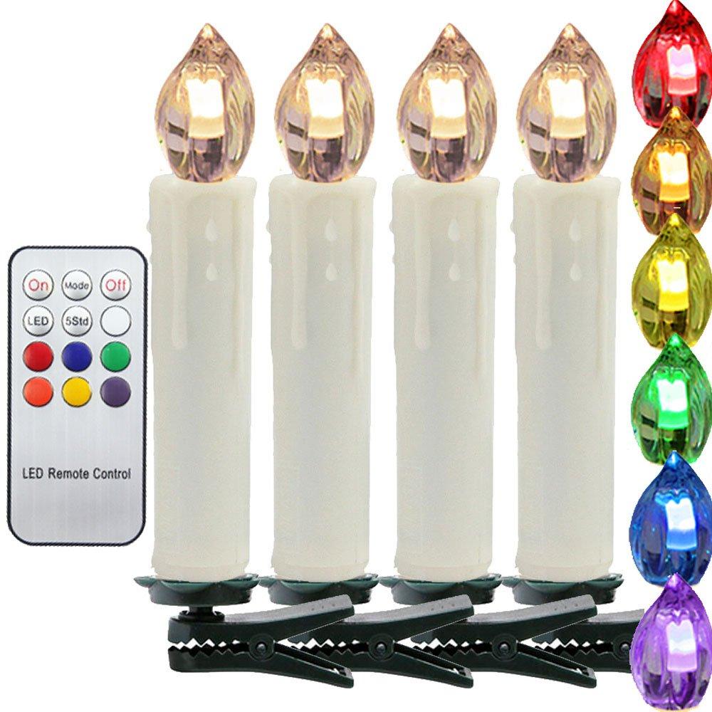 HJ® 40er Set LED Baumkerzen Weihnachtskerzen RGB Kerzen Kerzenlichter Flammenlose, kabellos, inkl.Fernbedienung beige, mit Timerfunktion 1349440