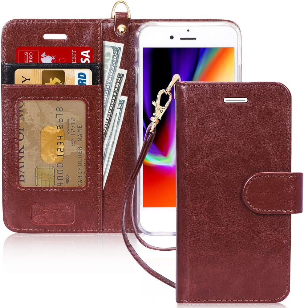 "FYY Case for iPhone 8/iPhone 7/iPhone SE (2nd) 2020 4.7""[Kickstand Feature] Luxury PU Leather Wallet Case Flip Folio Cover with [Card Slots][Wrist Strap] for iPhone 8/7/SE (2nd) 2020 4.7"" Dark Brown"