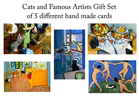 Amazon famous artists cats greeting card gift set 5 assorted famous artists cats greeting card gift set 5 assorted blank note cards with matching m4hsunfo
