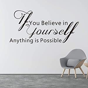 VODOE Inspirational Wall Decal, Quote Wall Decals, Office Gym School Classroom Teen Dorm Room Life Motivational Art Decor Vinyl Stickers If You Believe in Yourself Anything is Possible 26