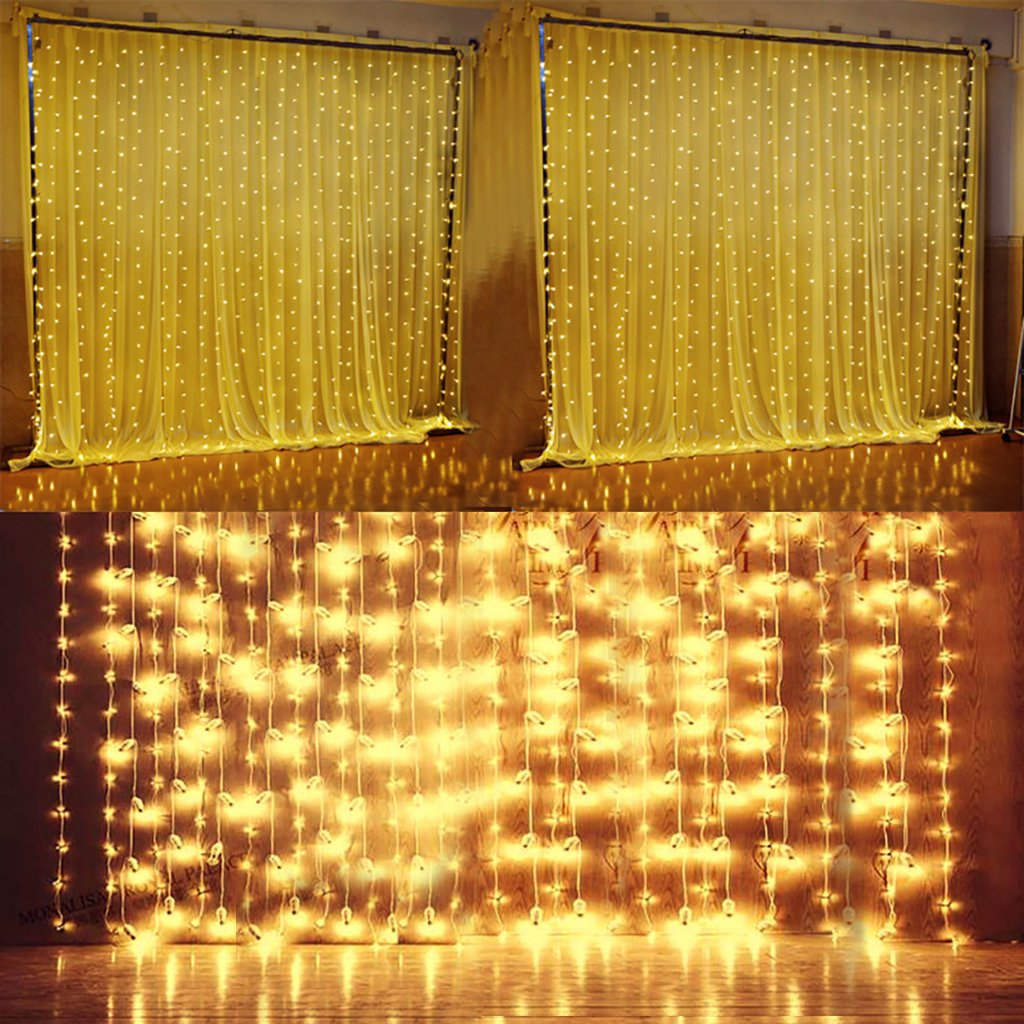 Quntis LED Curtain String Lights, Indoor Outdoor 300 LEDs 29V Warm White LED Icicle Starry Lights Decor for Home Bedroom Kitchen Garden Patio Window Wedding Party Holiday Christmas, UL588 certified