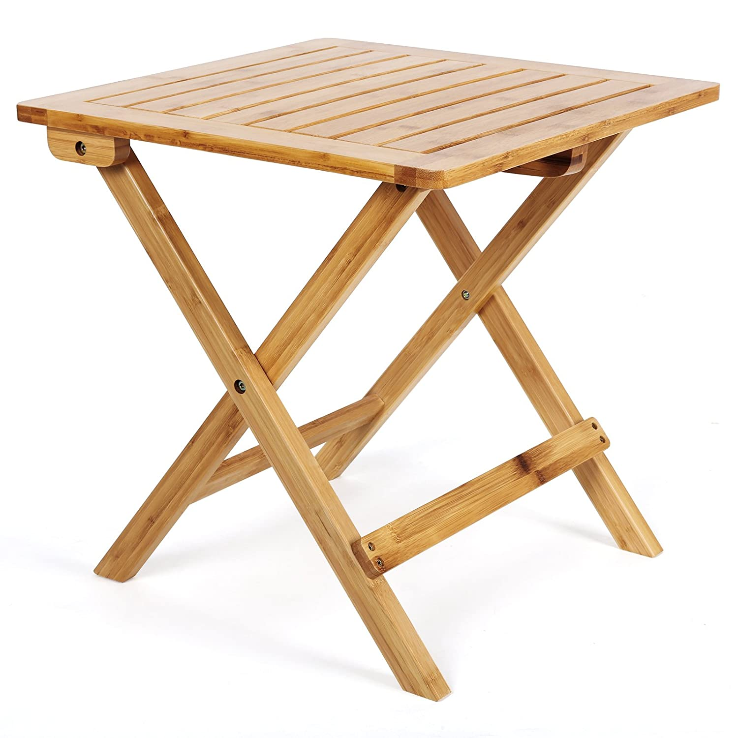 songmics natural bamboo garden table folding table wood outdoor coffee snack side table gzdn. Black Bedroom Furniture Sets. Home Design Ideas