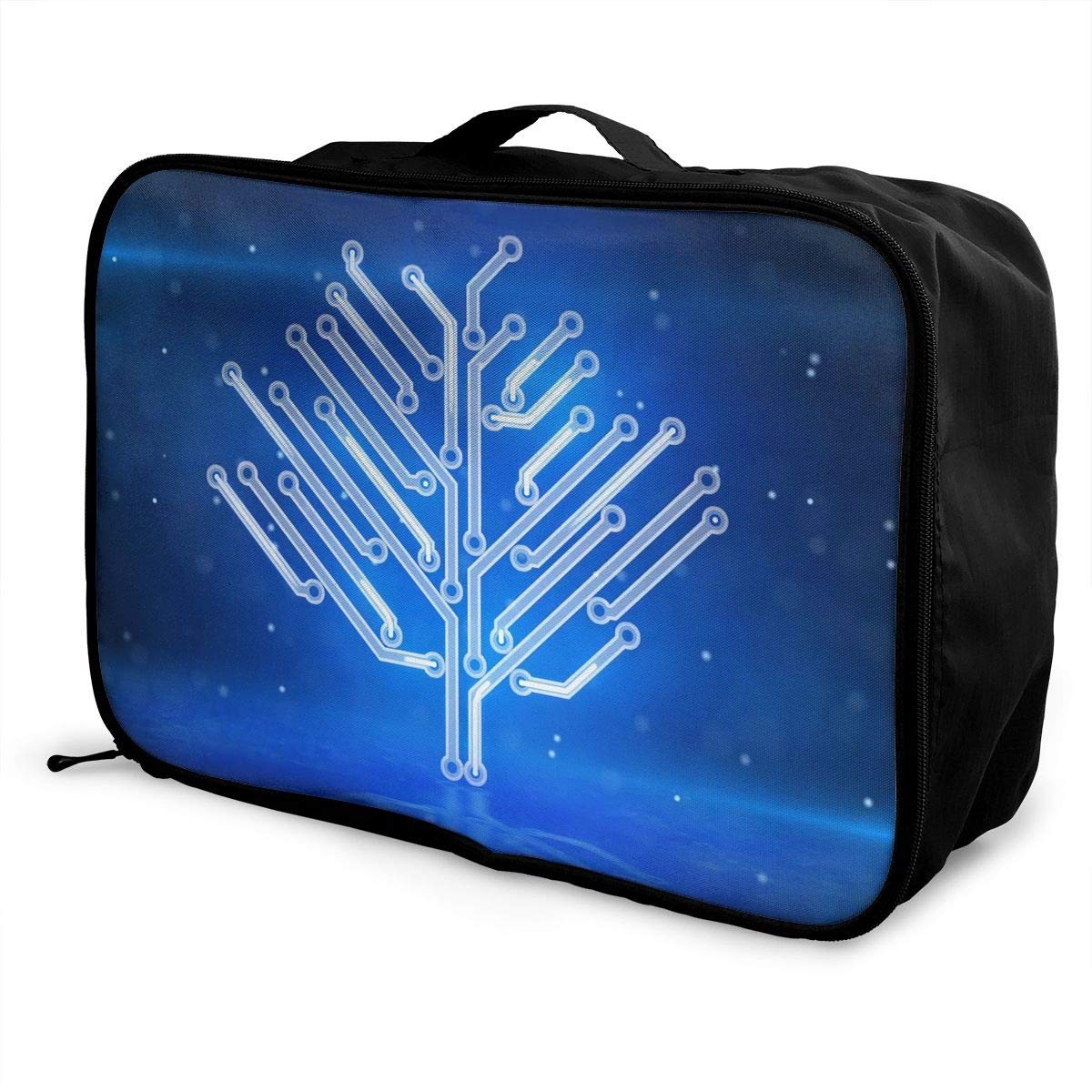 Travel Luggage Duffle Bag Lightweight Portable Handbag Blue Circuit Pattern Large Capacity Waterproof Foldable Storage Tote