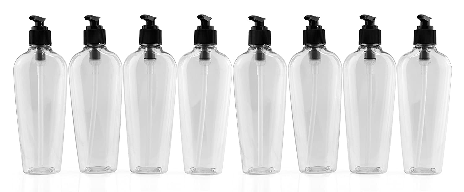 8-Ounce Clear Oval-Shaped Plastic Lotion Bottles w Black Pump Dispensers 8-Pack Empty Containers for Lotion, Liquid Soap, Baby Care, Hand Sanitizer More