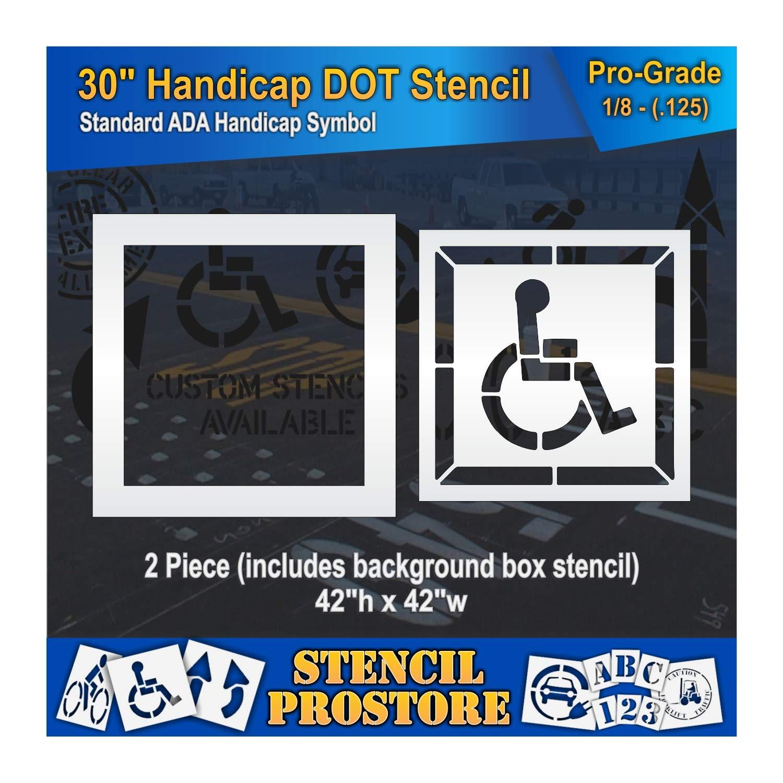 Pavement Stencils - 30 inch - Handicap - ADA Stencil with Border & Background - (2 Piece) - 42'' x 42'' x 1/8'' (128 mil) - Pro-Grade by Stencil ProStore