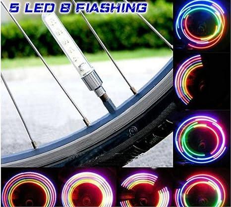 cdycam 2pcs impermeable a prueba de golpes 5 LED bicicleta Ciclismo Motor Car Tire habló Válvula