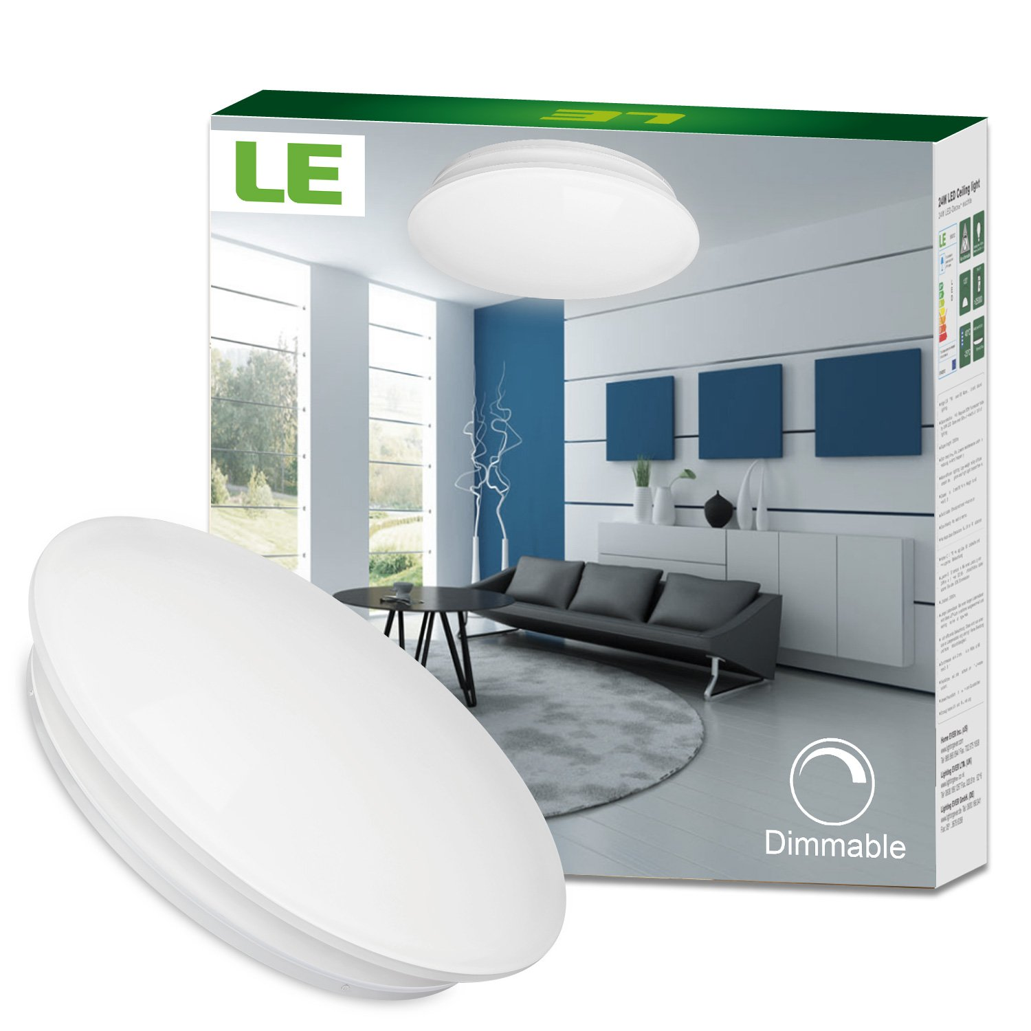 LE 40W Dimmable Daylight White 19.3-Inch LED Ceiling Lights, 225W ...