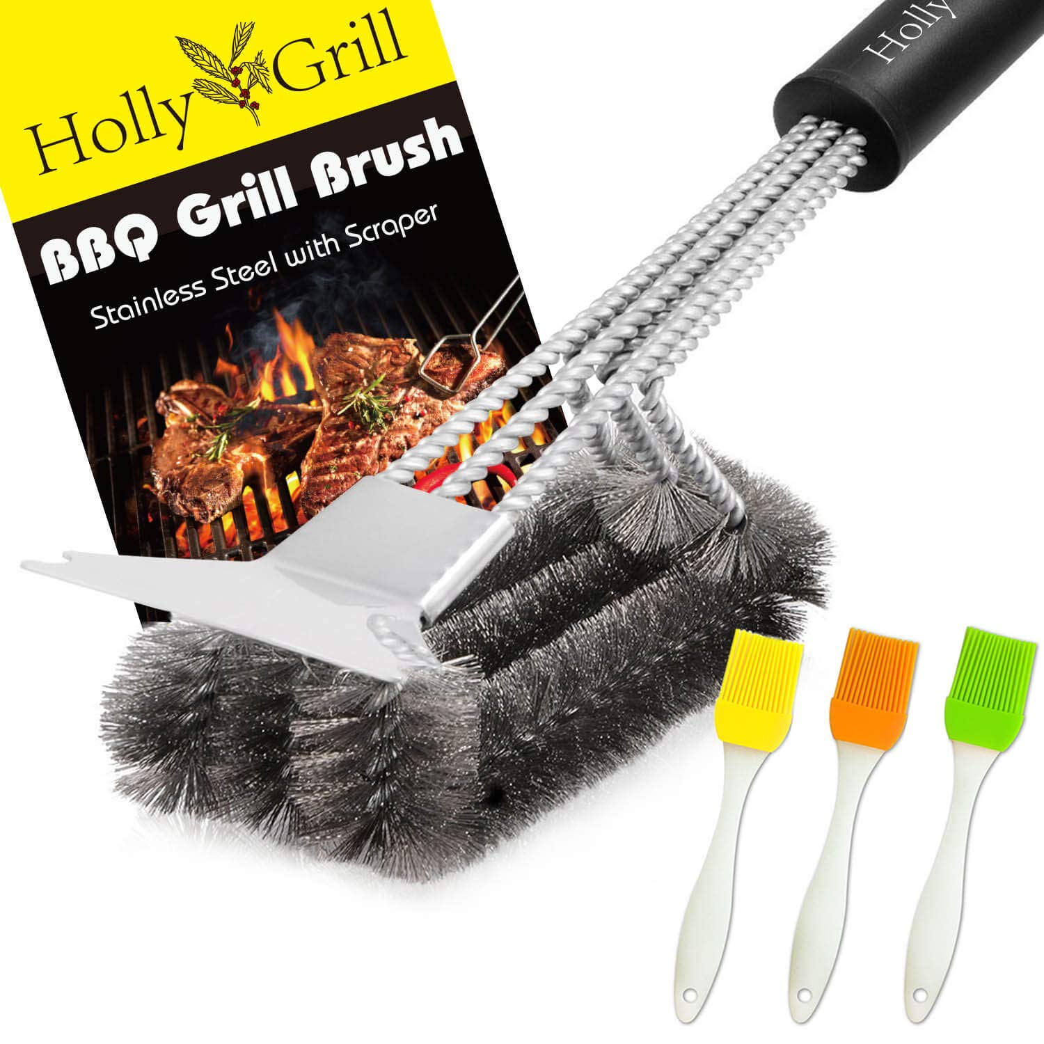 HollyGrill Safe Grill Brush and Scraper | Heavy Duty 18'' BBQ Brush with Stiff Bristles | No Pieces Come Off | 100% Rust Resistant Stainless Steel Barbecue Brush | Great Weber Grill Accessories Gift by HollyGrill