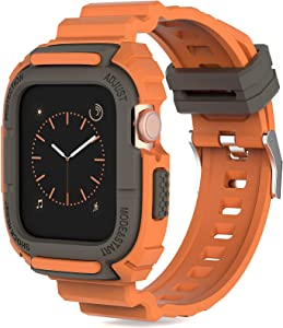 Compatible for Apple Watch Band 40mm 38mm with Bumper Case, Loxoto Rugged Full Protection Shockproof Case with TPU Band Strap Fit for iWatch 6/SE/5/4/3 Men Sport Military Style, Kumquat