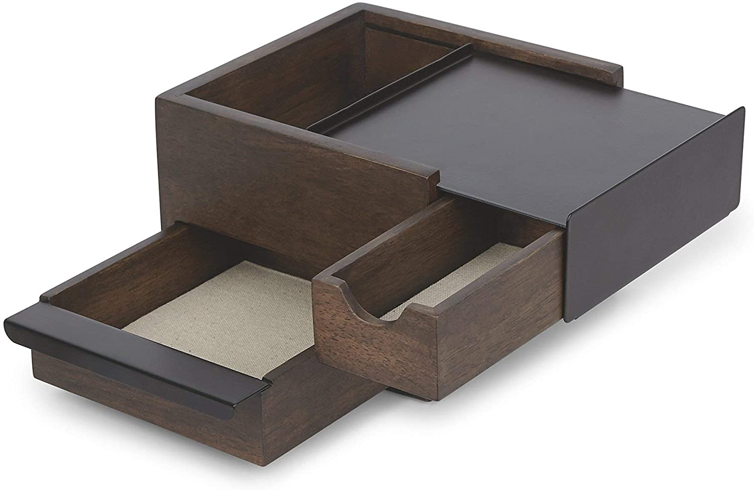Umbra Mini Stowit Jewelry Box - Modern Keepsake Storage Organizer with Hidden Compartment Drawers for Ring, Bracelet, Watch, Necklace, Earrings, and Accessories (Black / Walnut)