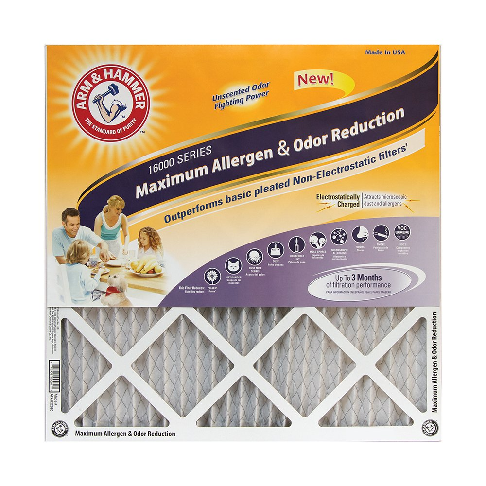 Arm & Hammer Max Allergen & Odor Reduction 20x25x1  Air and Furnace Filter, MERV 11, 4-Pack by Arm & Hammer