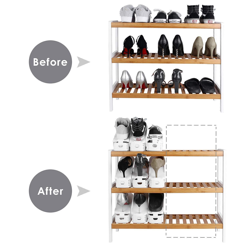 FEMOR Lot de 10 Support /à Chaussures R/églables,Empiler Les Chaussures,Organiseur de Chaussures,Economie dEspace /à Chaussures Support Rack Plastique,Vendu par wahaha,Exp/édier par 1-2 jours