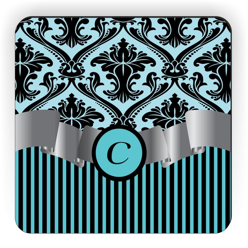 Rikki Knight Letter C Initial Sky Blue Damask and Stripes Monogrammed Design Square Fridge Magnet