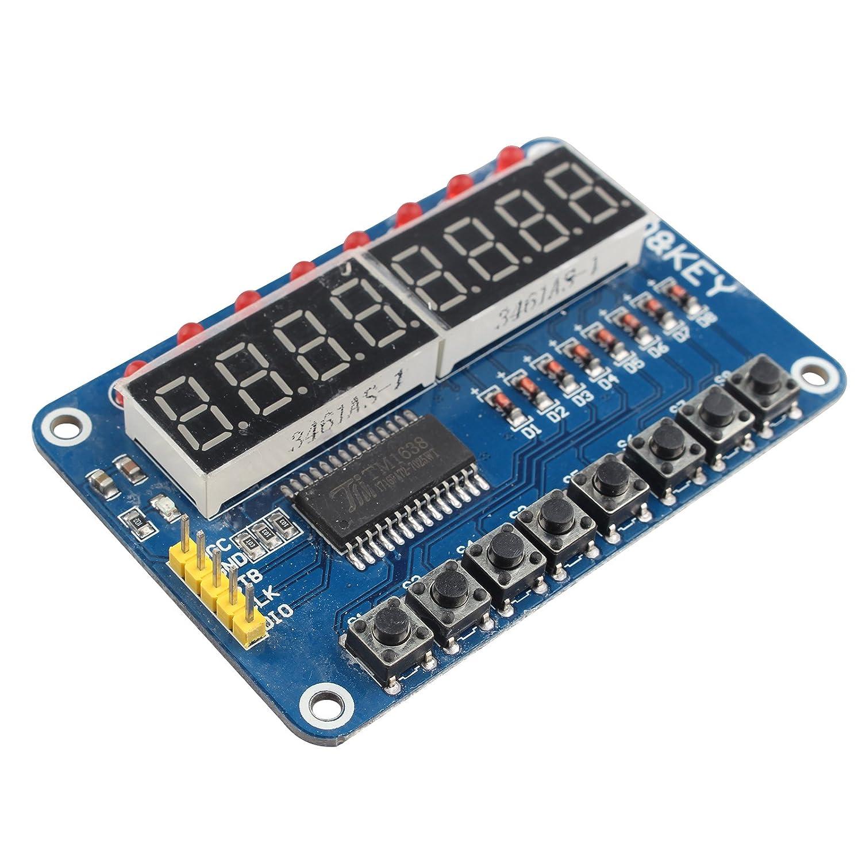 8-Bit LED-Digitalr/öhre 8-Tasten-Display-Modul f/ür AVR Arduino ARM HiLetgo/® TM1638-Chip
