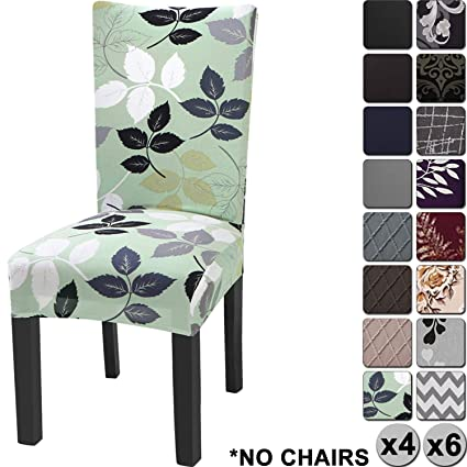 Super Yisun Modern Stretch Dining Chair Covers Removable Washable Spandex Slipcovers For High Chairs 4 6 Pcs Chair Protective Covers Green Leaf Pattern 4 Pdpeps Interior Chair Design Pdpepsorg