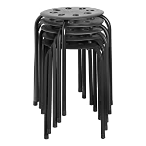 Norwood Commercial Furniture NOR-STOOLBB-SO Plastic Stack Stools, Black & Black