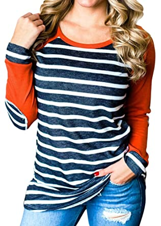 9438e37254 XCHQRTI Womens Striped Elbow Patch Baseball T-Shirt Long Sleeve O-Neck  Splicing Tops at Amazon Women's Clothing store: