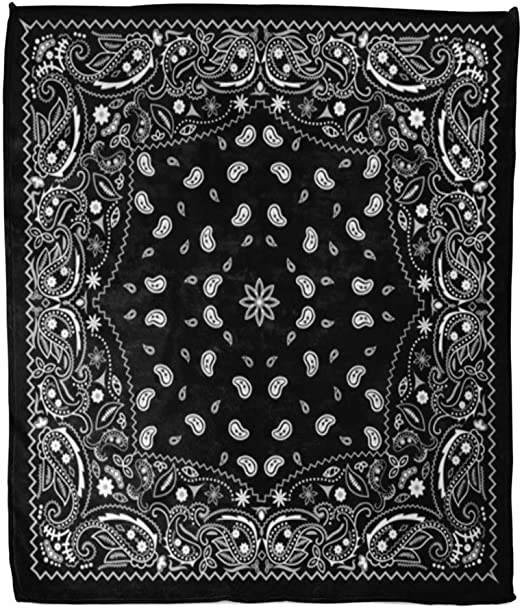 New  Small Black Paisley Bandana //Scarf  20 inch