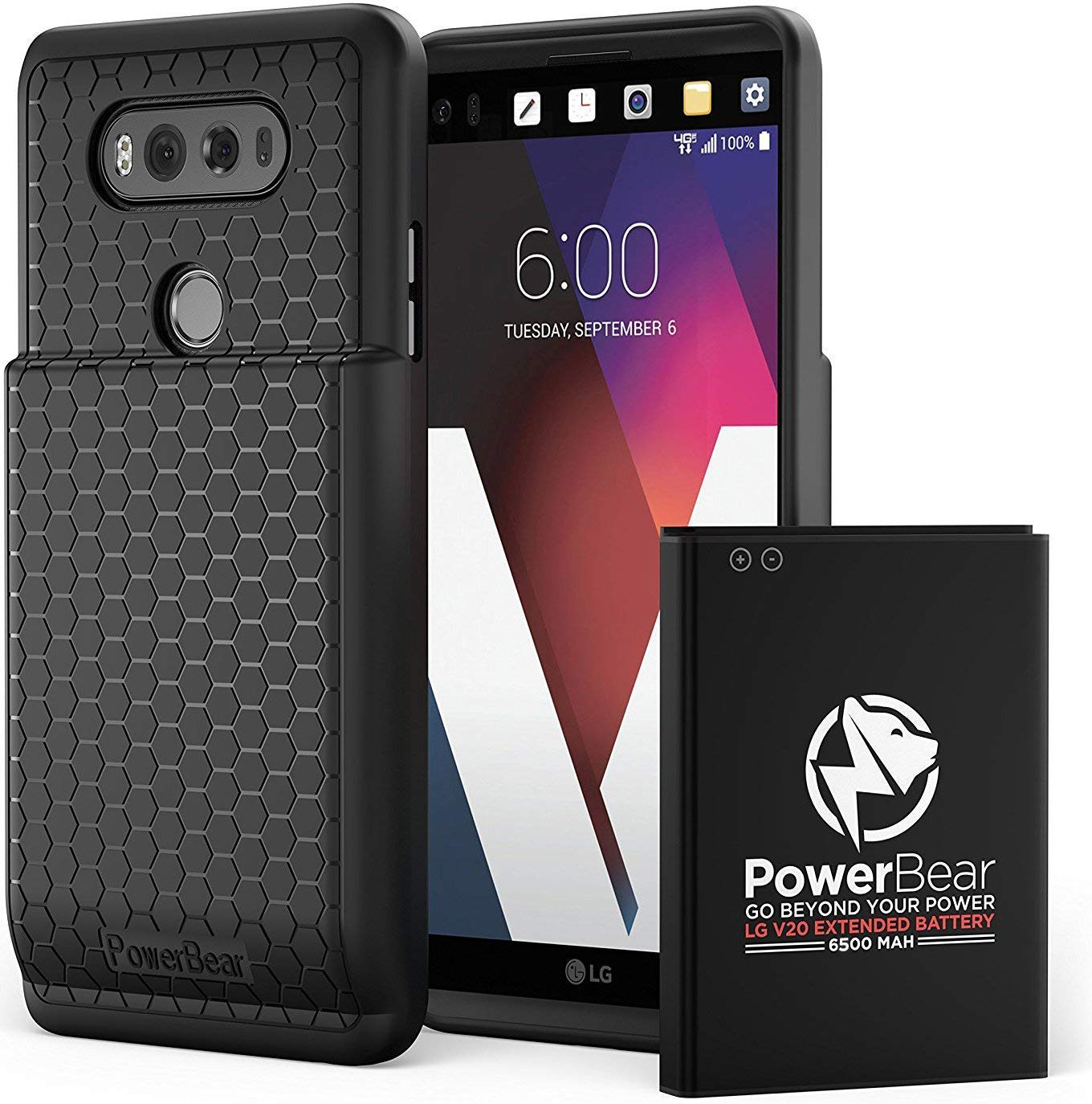 new product 9fb6c 0c528 PowerBear LG V20 Extended Battery [6500mAh] & Back Cover & Protective Case  (Up to 2.2X Extra Battery Power) - Black & Screen Protector Included