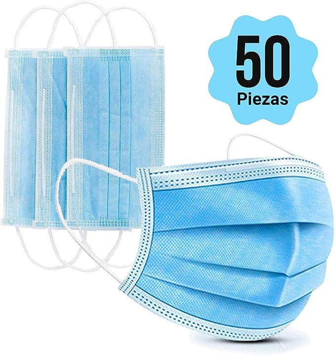 Cubrebocas Tapabocas desechables con bucle elástico para la oreja 3 capas para mayor protección paquete con 50 mascarillas desechables