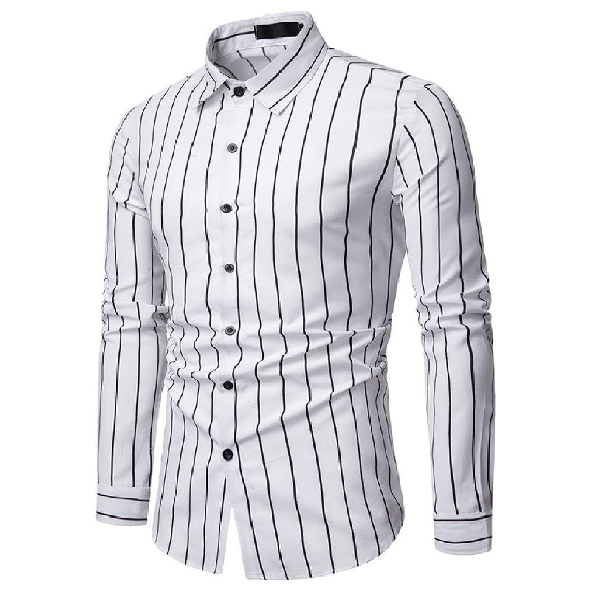 Losait Mens Business Regular-Fit Long-Sleeve Button Up Stripe Work Shirt