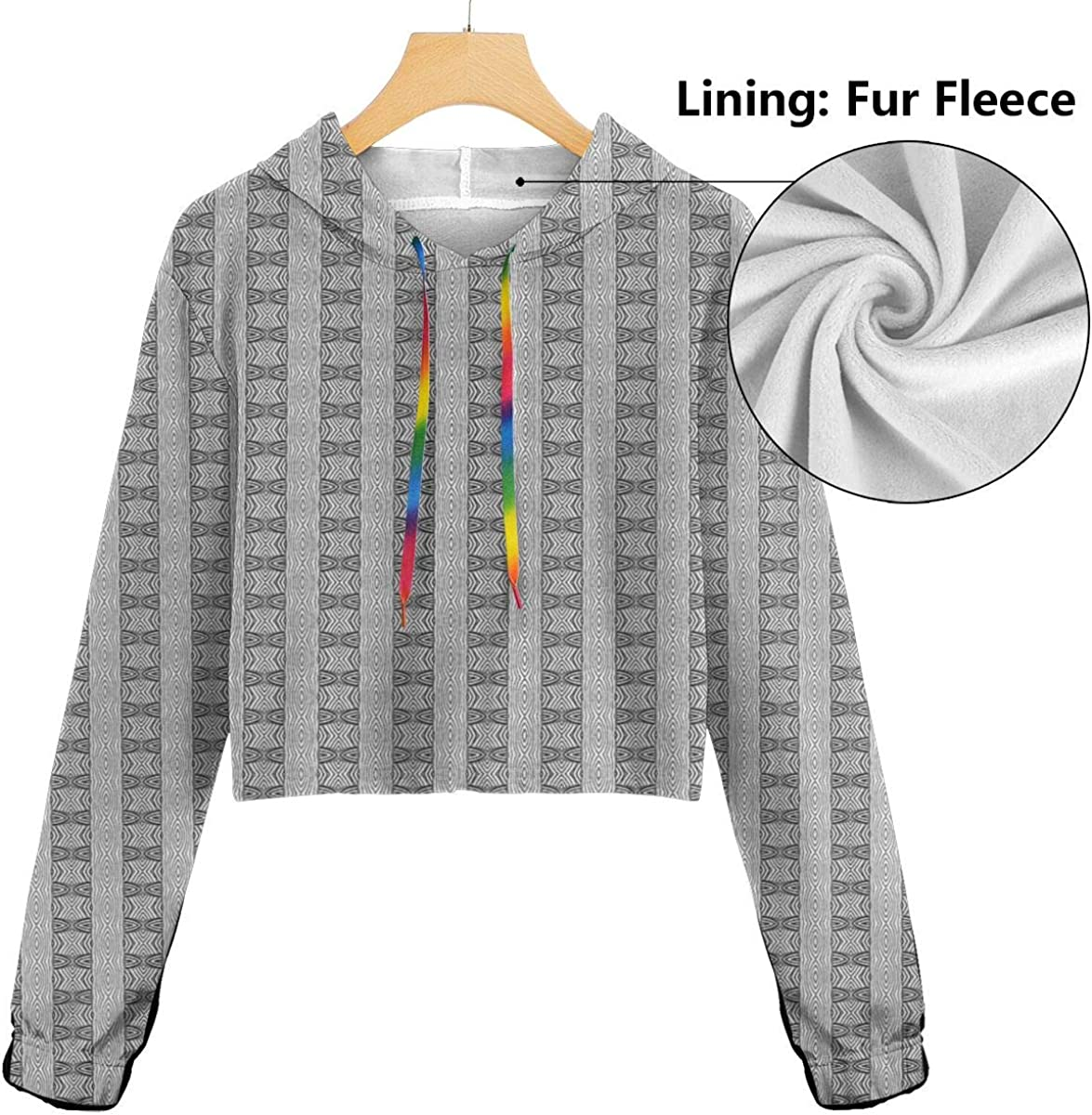 GULTMEE Womens Cropped Hoodie,Monochrome Illustration of Abstract Circles Pattern Ethnic Inspirations,S-XL