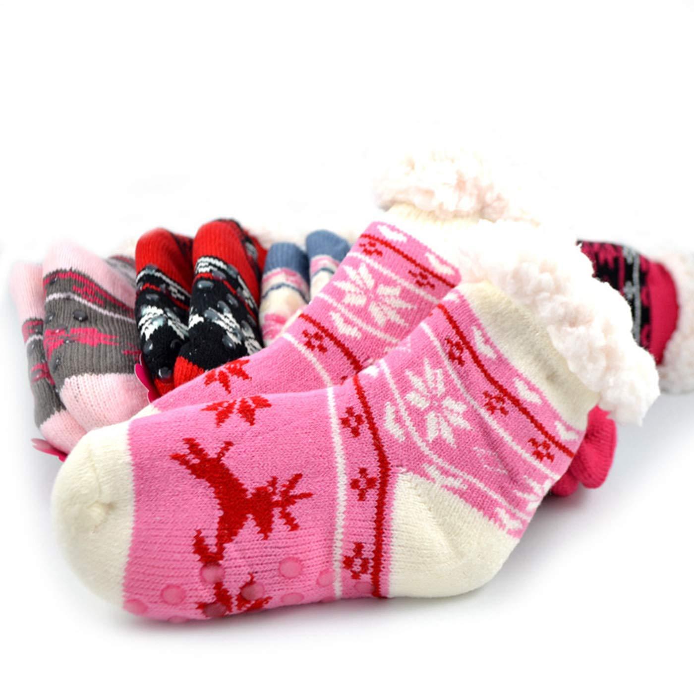 Newborn Infant Toddler Slipper Socks,Cute Cartoon Socks Sherpa-lined Kids Grips Socks Fuzzy Warm Socks for Baby Girls Boys