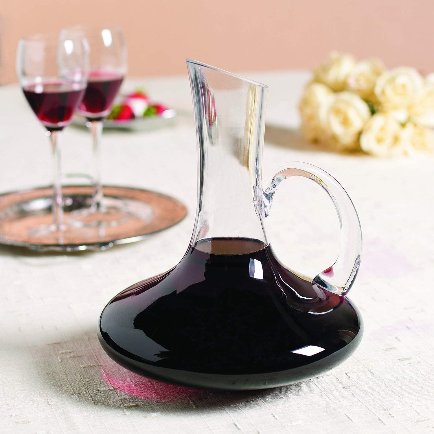 Fun Express Glass Wine Decanter with Handle-10 high-holds 68 ounces