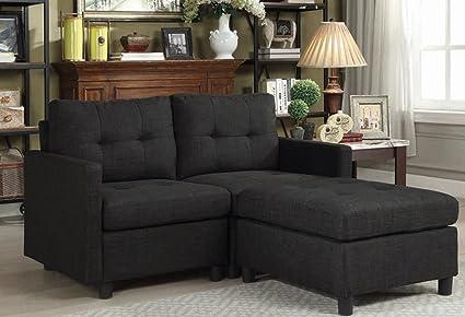 Prime Black Loveseat Sofas With Ottoman Reversible Linen Machost Co Dining Chair Design Ideas Machostcouk