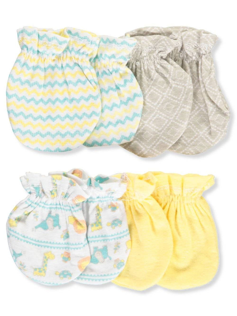 Cribmates Unisex Baby 4-Pack Scratch Mitts - yellow multi, one size