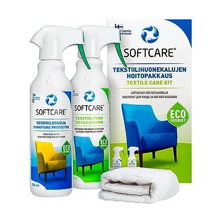 M-SOLUCIONES - Softcare Kit de Limpieza - Limpiador y Protector - para Limpiar Tapicería de Coches Sofás Sillas