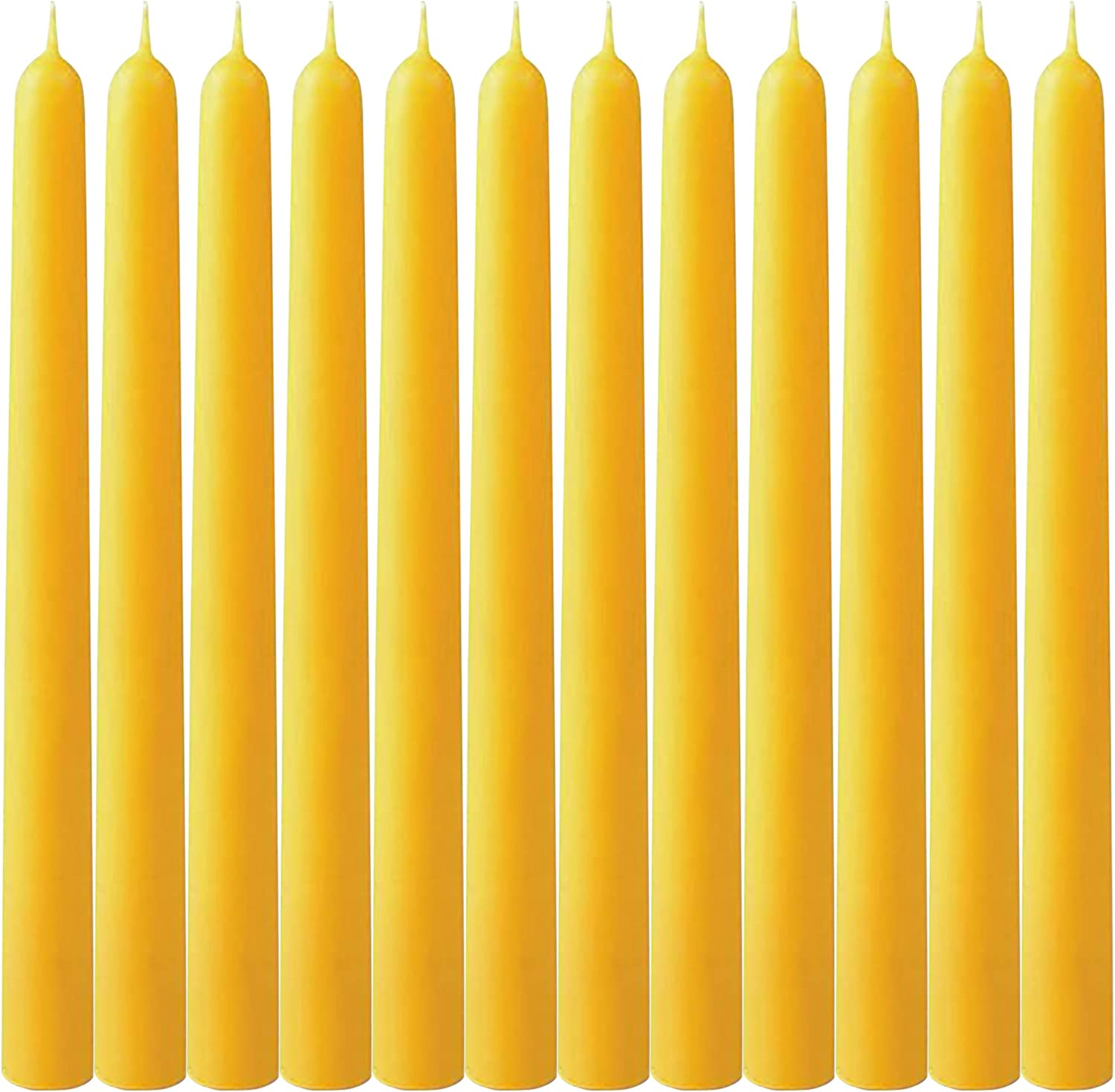 """Pack of 12 Beeswax Taper Candles- 10"""" Beeswax Taper Candles Handmade, All Natural, 100% Pure Bee Wax Candle - Huge Taper Candles Golden Yellow –8 Hour Burn Time (12)"""