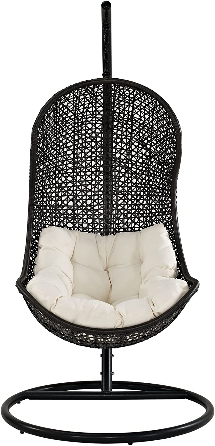 Modway EEI-806-SET Parlay Wicker Rattan Outdoor Patio Balcony Porch Lounge Swing Chair Set with Stand Espresso Beige