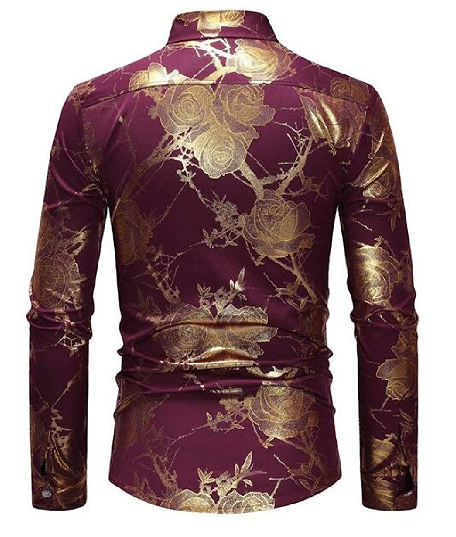 Sweatwater Men Regular Fit Button Up Casual Printed Long Sleeve Shirts