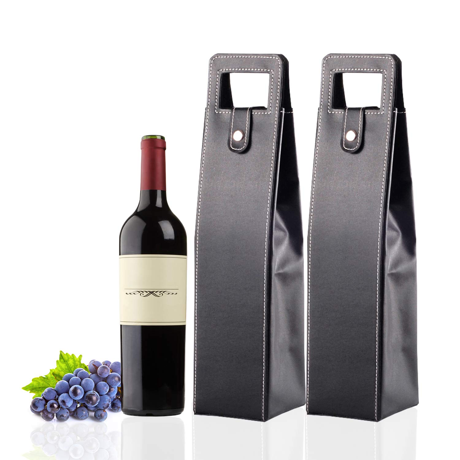 CODOHI Resuable Leather Wine Tote Bag(2 Packs)- Wine/Champagne/Beer Gift Bags Carrier for Valentines Day Holiday-Black
