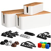 Koreal White Cable Management Box 3 Pack with 16 Cable Clips Set-Large & Medium & Small Wooden Style Cable Organizer Box…