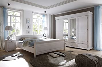 Amazon.de: Schlafzimmer Landhaussstil Kiefer weiß gewachst 4-tlg ...