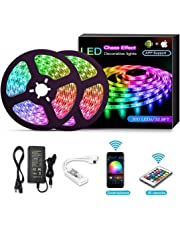 YOMYM Tira LED, Luces LED con Kit, Tira de luz controlada por teléfono Inteligente, inalámbrico, WiFi 5050, Trabaja con Sistema Android y iOS, Alexa, Asistente de Google, 32.8ft / 10M (2x5M)