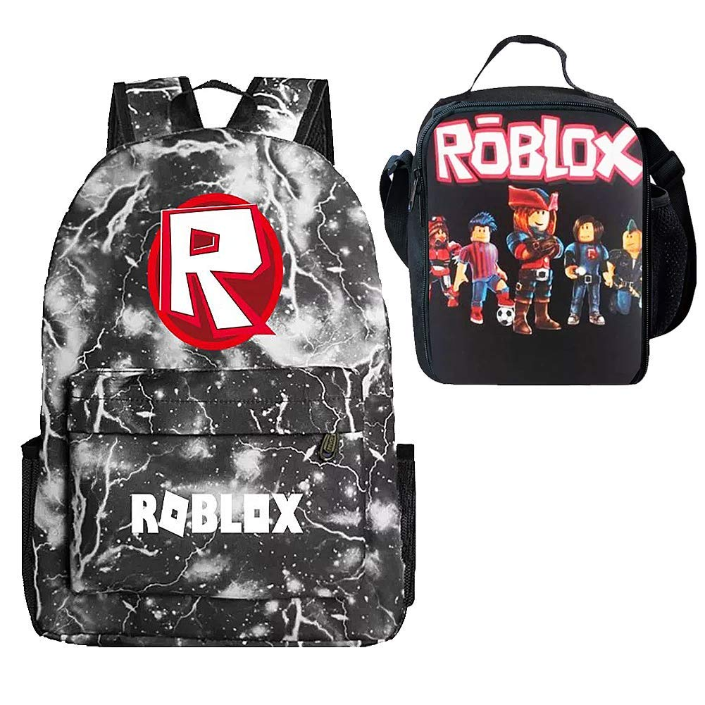 Kids Backpack and Insulated Lunch Box Boys School Travel Outdoor Grey Lighting R by Uni-fashion