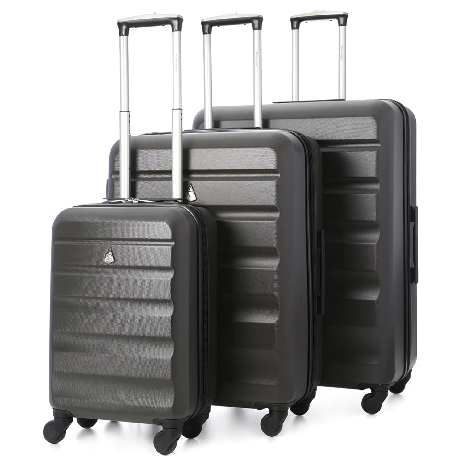 226871cc2185 Aerolite Lightweight 4 Wheel ABS Hard Shell Travel Trolley 3 Piece Lugagge  Suitcase Set, 21