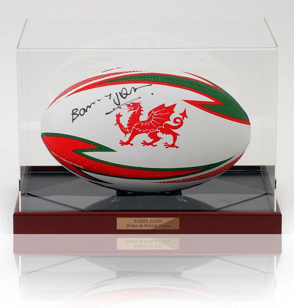 MBS Barry John - Balón de Rugby de la WRU Firmado a Mano con ...
