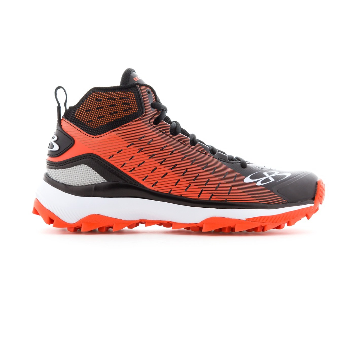 Boombah Men's Catalyst Mid Turf Shoes - 10 Color Options - Multiple Sizes B07B5H586S 9.5|Black/Orange