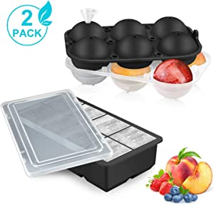Ice Cube Tray Silicone with Lids, 2 Pack Large 6 Ice Ball Mold + 8 Square Ice Cube Mold for Whiskey, Cocktails & Brandy, Food Grade Ice Tray Freezer BPA Free Keep Drinks Chilled