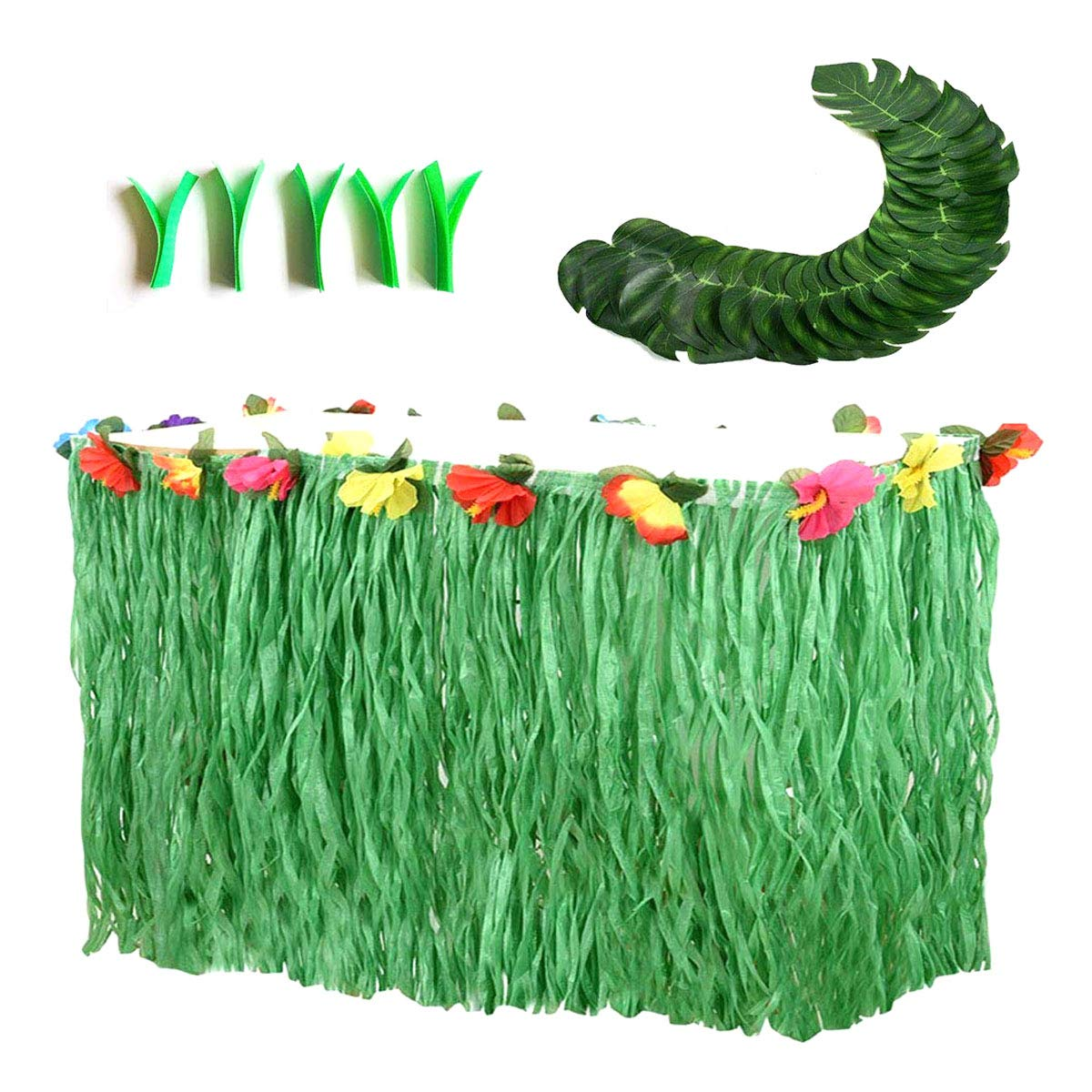 Hawaiian Luau Party Supplies-1 Pack Grass Table Skirt 9ft,20 Pcs Tropical Faux Palm Leaves5Pcs Adhesive Hook & Loop for Hula, Luau, Maui, Hawaiian, Moana Themed Party(26pcs) by COCOScent