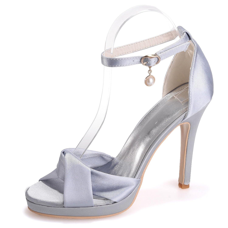 Elobaby Scarpe Scarpe Scarpe da Sposa Donna WR584 Peep Toe Fashion Satin Autunno Sera rossoonda (Tacco 11cm)   Abile Fabbricazione  9861cd