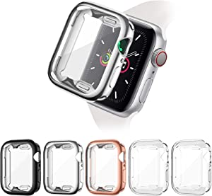 ZEBRE 5 Pack Screen Protector Compatible with Apple Watch SE/Series 6 / Series 5 / Series 4 44mm, Soft TPU Full Coverage Protective Case Cover Compatible with iWatch Series SE/6/5/4