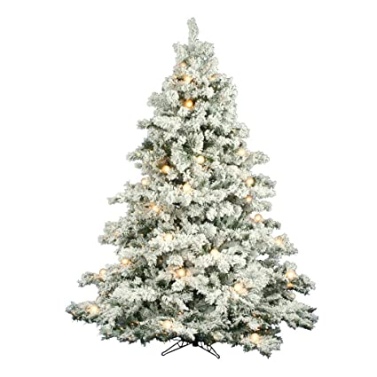 flocked alaskan 7 6 white artificial christmas tree with 800 clear lights