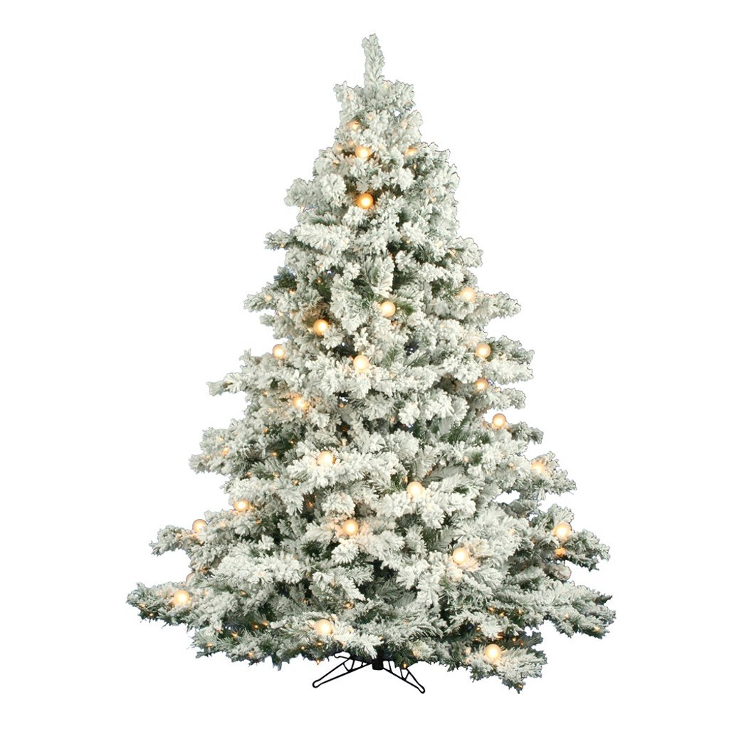 Flocked Alaskan 7' 6'' White Artificial Christmas Tree with 800 Clear Lights with Stand