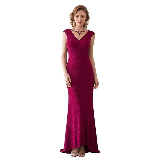 OYISHA Women\'s Cap Sleeve Beaded Mermaid Formal Evening Dress Gown ...