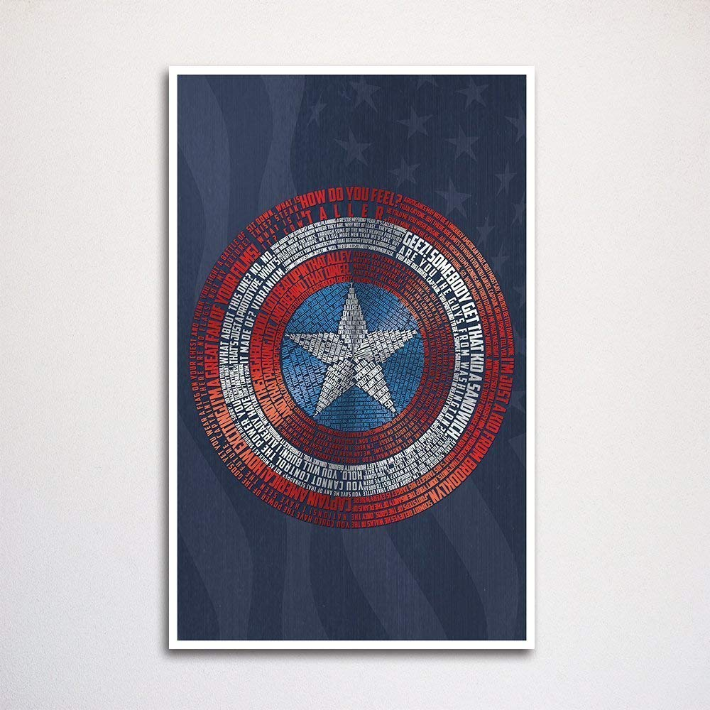 "Captain America Shield word art print -11x17"" unframed 